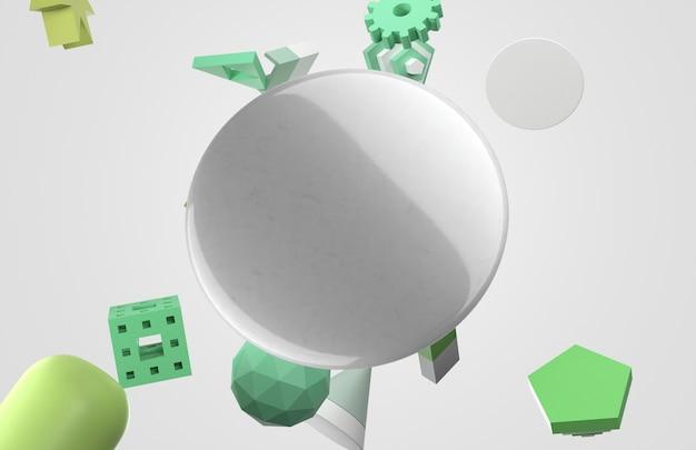 Vista frontal do pino de espaço de cópia 3d abstrato