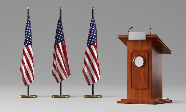 Vista frontal do pódio com bandeiras para as eleições americanas