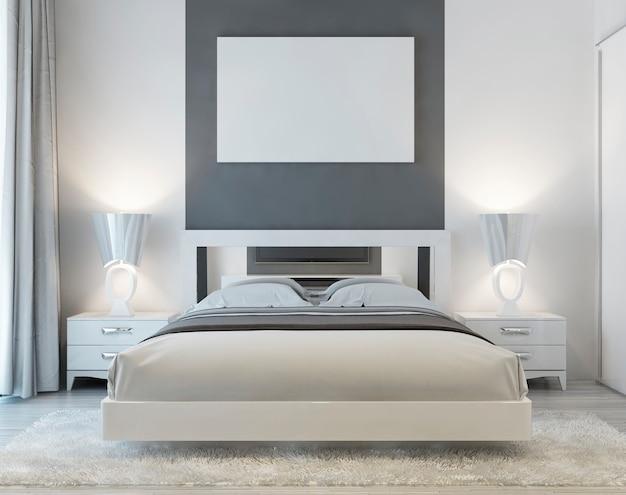 Vista frontal do quarto art déco com pôster mocap na parede com duas mesinhas de cabeceira e um tapete branco felpudo. a luz suave da janela incide no quarto luxuoso. 3d render.