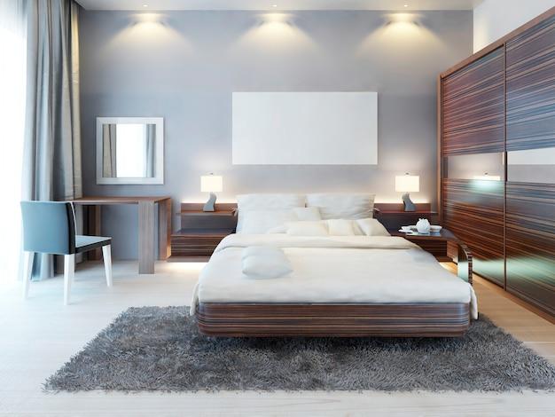 Vista frontal do quarto em estilo moderno. uma cama grande, penteadeira com cadeira e um grande armário deslizante. acima da cama, na maquete de pôster de parede. 3d render.