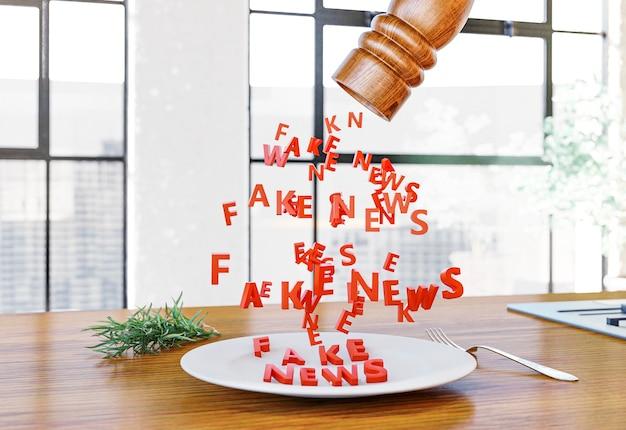 Vista frontal do saleiro derramando notícias falsas no prato