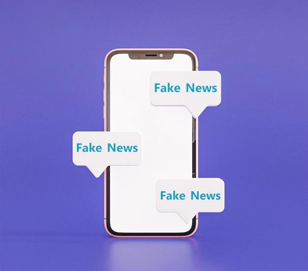 Vista frontal do smartphone com notícias falsas