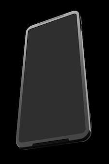 Vista frontal do smartphone preto com o conceito de tela vazia de jogos para celular