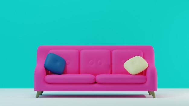 Vista frontal do sofá simples rosa com fundo azul em design 3d