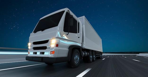 Vista frontal e de baixo ângulo do caminhão de entrega executado na estrada à noite, entrega rápida, logística de carga e conceito de transporte de mercadorias. renderização 3d.