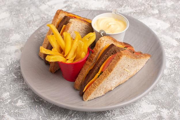 Vista frontal estreita sanduíches de torrada saborosa com queijo presunto dentro da placa com batatas fritas e creme de leite