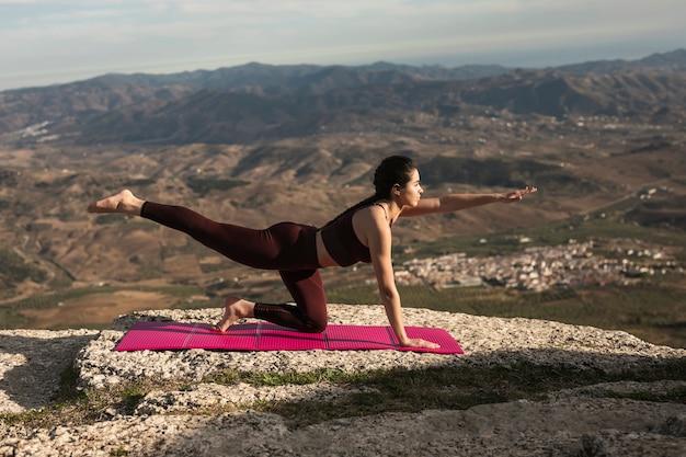 Vista frontal, ioga, prática, exercício