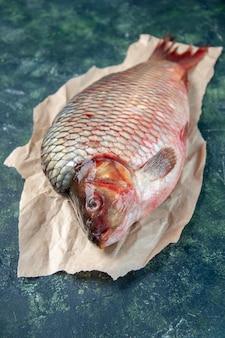 Vista frontal peixe cru fresco em uma superfície azul escura comida água oceano ômega frutos do mar cor horizontal carne refeição