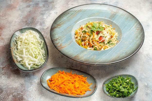 Vista frontal saborosa salada de vegetais com fatias de cenoura e repolho na luz de fundo dieta foto prato cor refeição comida saudável