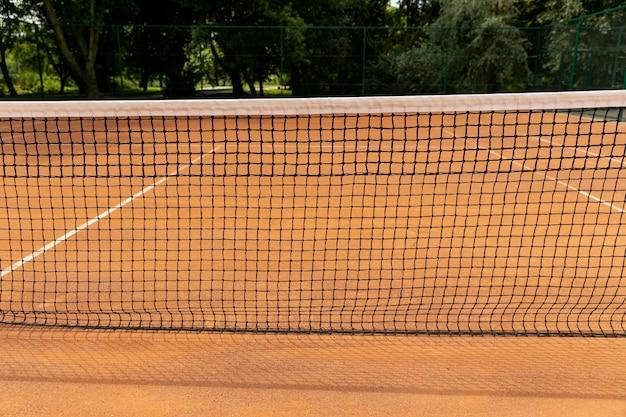 Vista frontal, tênis, rede, ligado, corte