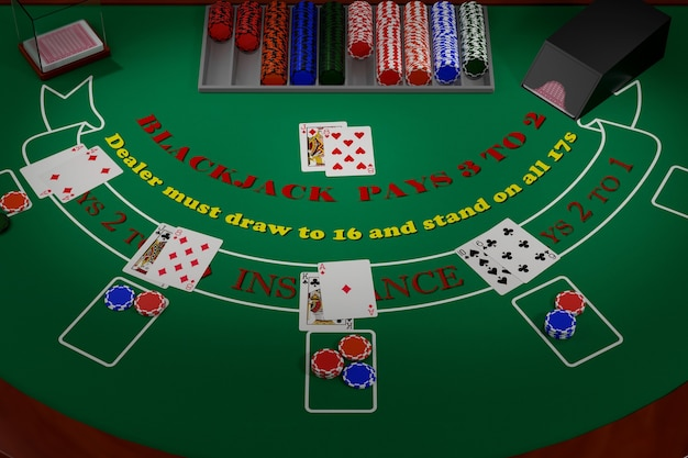 Vista geral de uma mesa de blackjack com cartas e fichas. ilustração 3d.