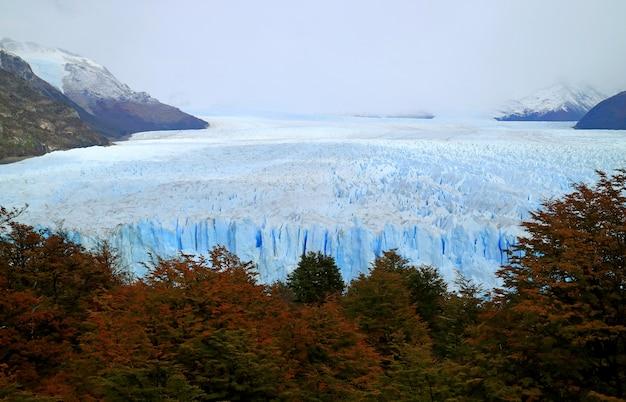 Vista impressionante da folhagem de outono contra a geleira perito moreno, el calafate, patagonia, argentina