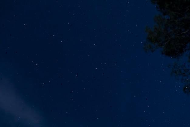 Vista inferior céu estrelado