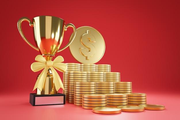 Vista inferior da fileira de moedas de ouro empilhadas como um passo até a moeda grande e o troféu