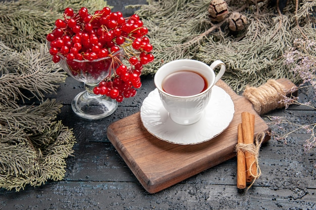 Vista inferior de groselha em um copo, uma xícara de chá e canela em uma tábua e galhos de pinheiro em fundo escuro