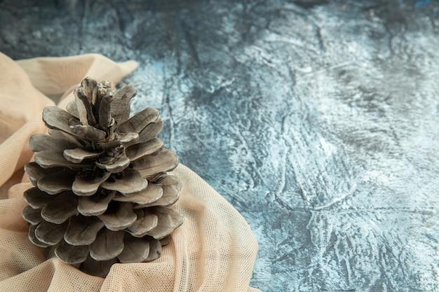 Vista inferior de pinhas em xale bege em superfície escura copie o local