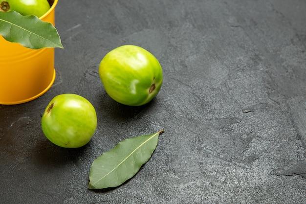 Vista inferior de um balde de tomates verdes e folhas de louro e tomates em fundo escuro