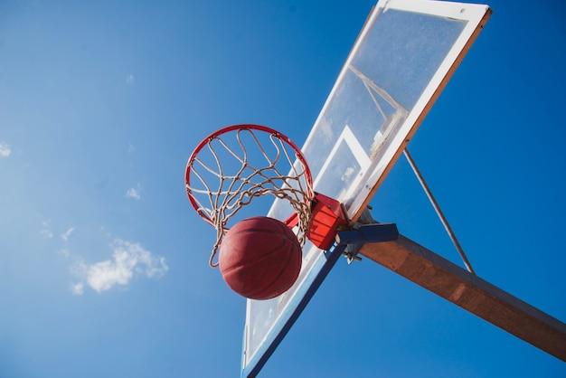 Vista inferior do basquetebol