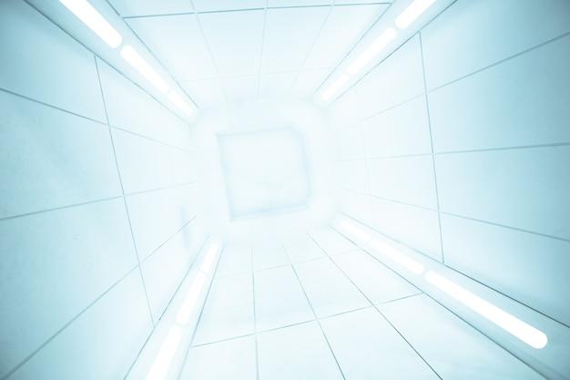Vista interior da nave espacial com textura branca brilhante, corredor interior futurista, nave espacial,