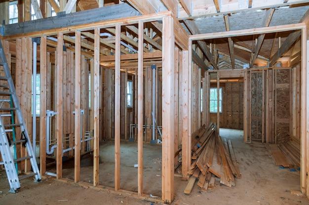 Vista interior, de, um, casa, construção
