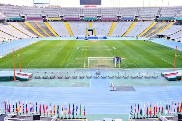 Vista interior do estádio olímpico, barcelona, espanha