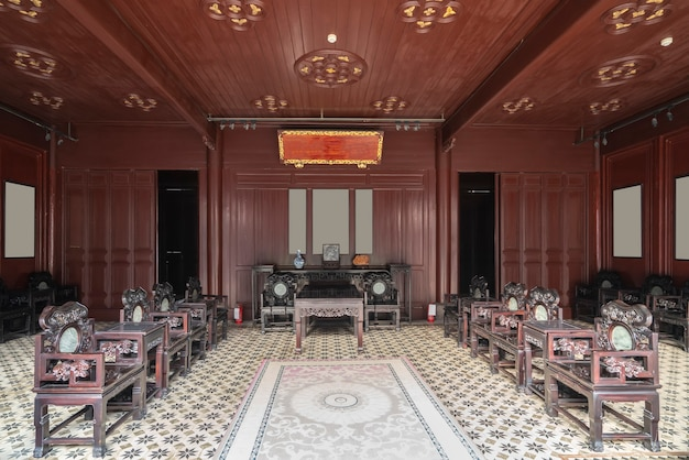 Vista interna de antigas casas folclóricas chinesas