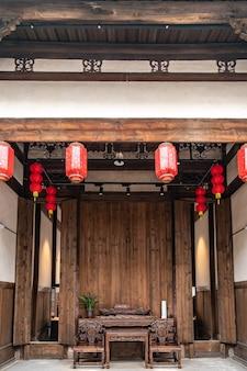 Vista interna do lobby em estilo chinês antigo