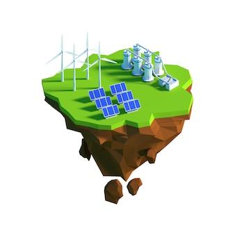 Vista isométrica baixo poli eco green energy concept