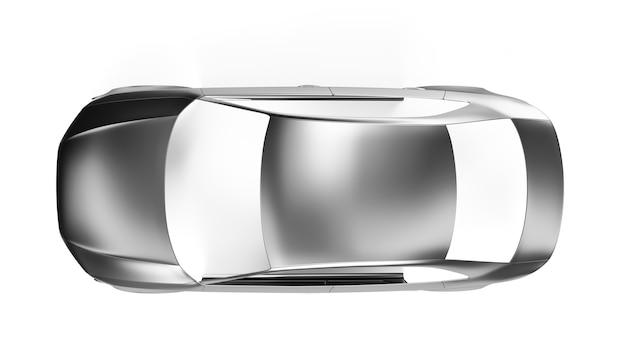 Vista lateral carcaça de um carro sedan em branco. ilustração 3d