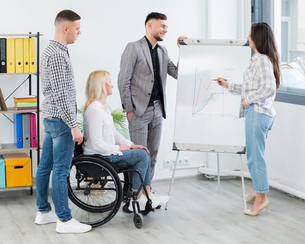 Vista lateral da mulher em cadeira de rodas, assistindo a apresentação no trabalho