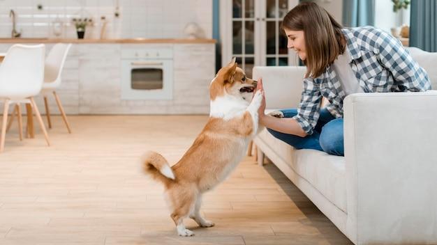 Vista lateral da mulher no sofá, cumprimentando seu cachorro