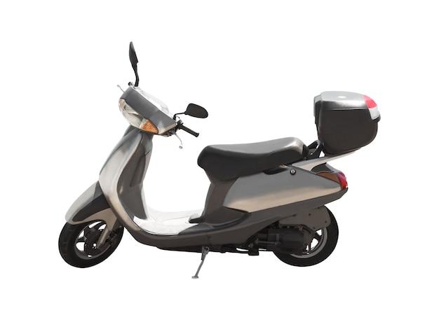 Vista lateral da scooter moderna isolada no fundo branco. transporte urbano