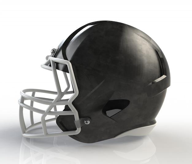 Vista lateral de capacete de futebol americano galvanizado escovado preto