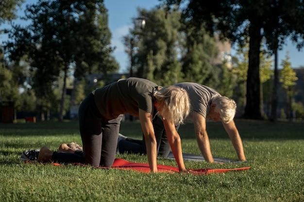 Vista lateral de casal maduro fazendo ioga ao ar livre