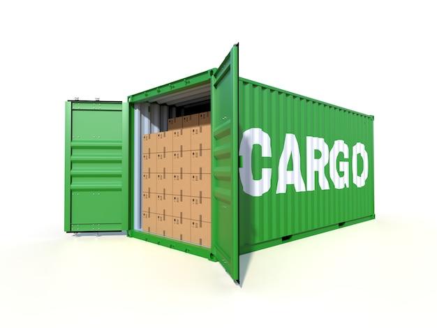 Vista lateral de contêiner de carga de navio com caixas de papelão
