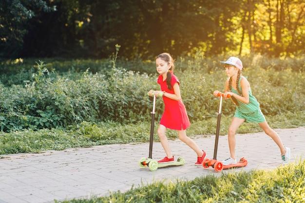 Vista lateral, de, duas meninas, montando, empurre scooter, ligado, pavimento, parque