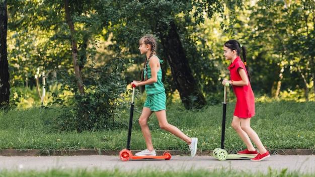 Vista lateral, de, duas meninas, montando, empurre scooter, parque