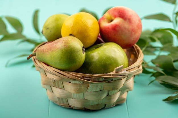 Vista lateral de frutas como pêssego, limão, maçã, pêssego em uma cesta com folhas em fundo azul