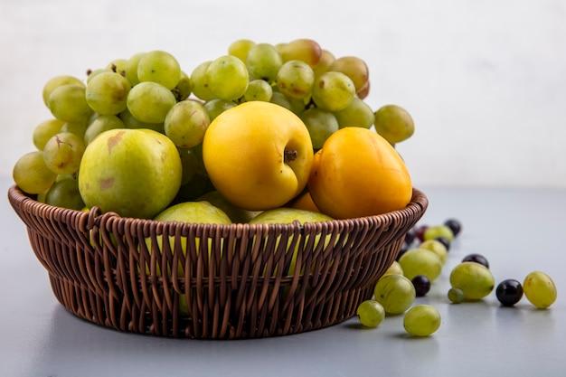 Vista lateral de frutas como pluots verdes de nectacotes de uva na cesta e bagas de uva na superfície cinza e fundo branco
