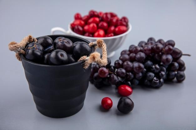 Vista lateral de frutas de abrunheiro roxo escuro em uma cesta preta com bagas de cornel em uma xícara e uvas isoladas em um fundo cinza