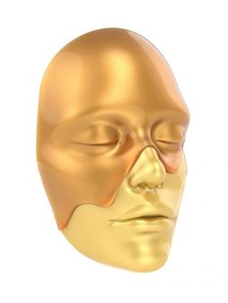 Vista lateral de máscara de folha de ouro sobre fundo branco 3d render