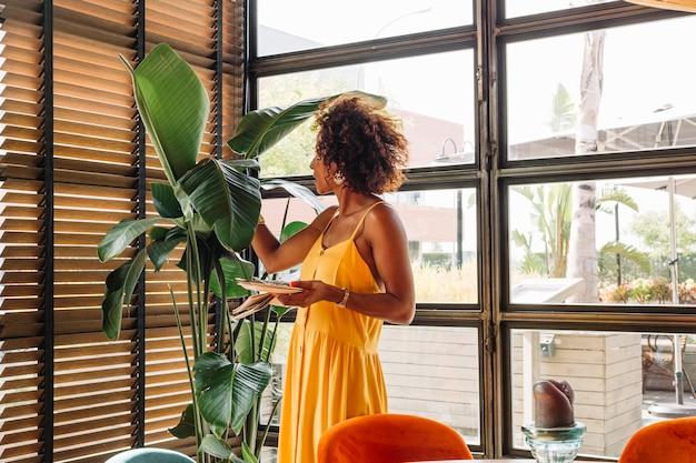 Vista lateral, de, mulher jovem, segurando, prato, ficar, perto, a, planta