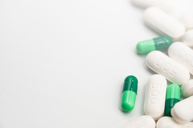 Vista lateral, de, sortido, farmacêutico, medicina, pílulas