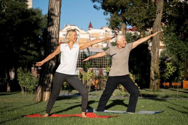 Vista lateral de um casal de idosos fazendo ioga ao ar livre