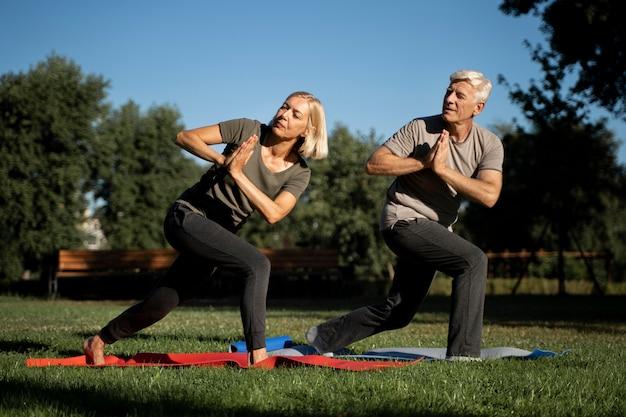 Vista lateral de um casal de idosos praticando ioga ao ar livre