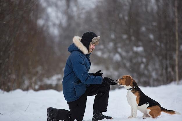 Vista lateral de um homem treinando cachorro da raça beagle americana em campo no inverno