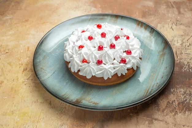 Vista lateral de um saboroso bolo decorado com creme e groselha em um prato azul sobre um fundo colorido