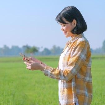 Vista lateral de uma agricultora asiática segurando o dinheiro das notas da tailândia em uma fazenda de arroz verde