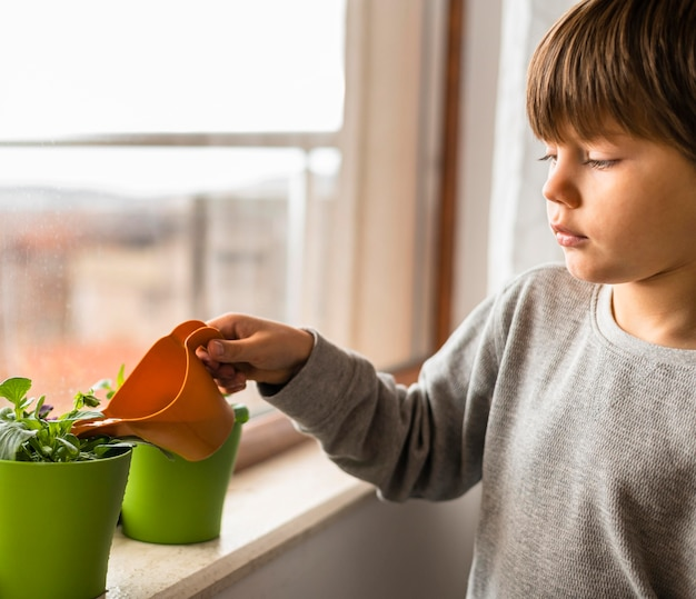 Vista lateral de uma criança regando plantas perto da janela