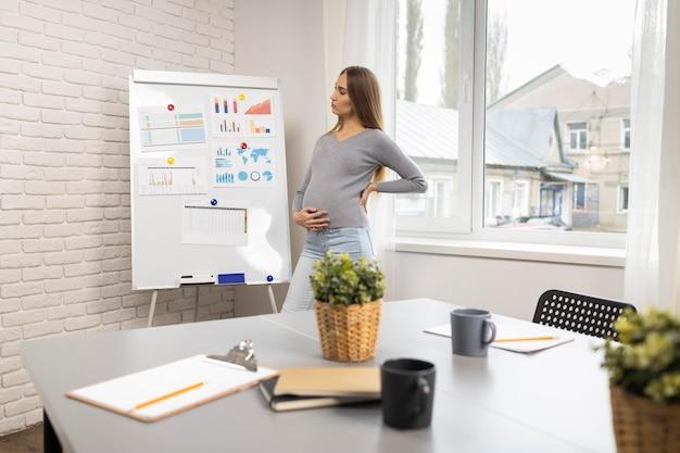 Vista lateral de uma empresária grávida com quadro branco no escritório